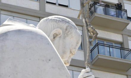 Pope Francis prays the Angelus from his hospital balcony