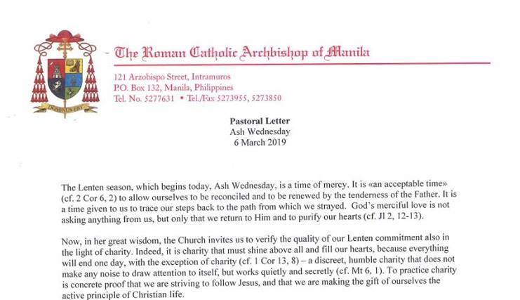 Ash Wednesday Pastoral Letter of +Luis Antonio G. Cardinal Tagle